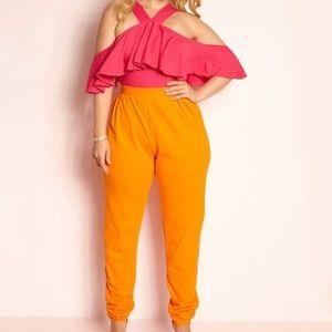 NWT Rebdolls Pink and Orange Jumpsuit 1x